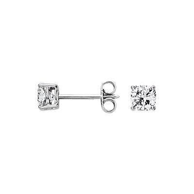 Aretes de diamante de talla cojín en oro blanco de 14k (1 qt. total)
