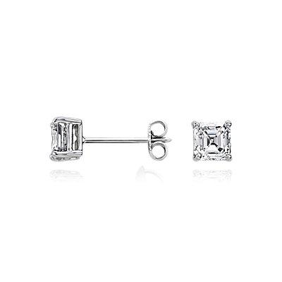 Aretes de diamante de talla Asscher en oro blanco de 14k (1 qt. total)