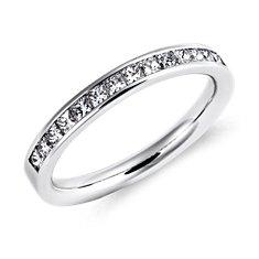 Bague diamants sertis barrette taille princesse  en or blanc 14carats