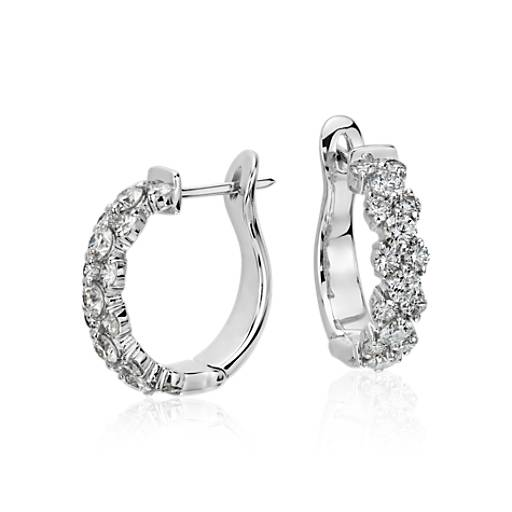 Garland Hoop Diamond Earrings in 18k White Gold (2 ct. tw.)