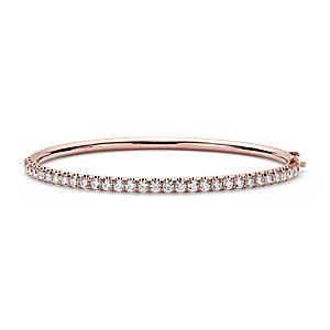 Jonc à charnière en diamants sertis pavé en or rose 18carats (2,53carats, poids total)