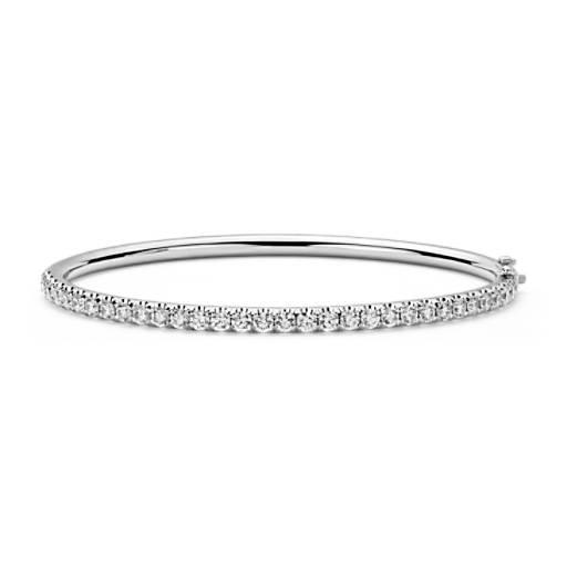 Esclava con bisagra y pavé de diamantes en oro blanco de 18 k (2,48 qt. total)