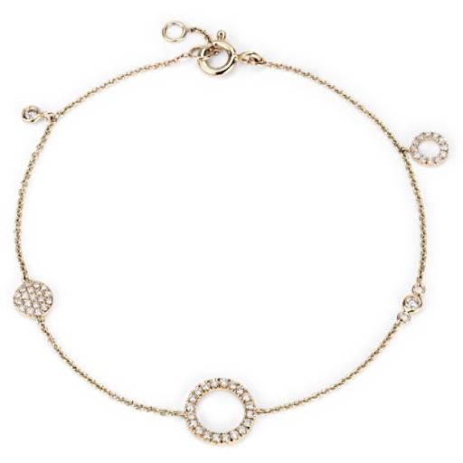 NEW Mini Diamond Asymmetrical Diamond Circle Bracelet 14k Yellow Gold (1/4 ct. tw.)