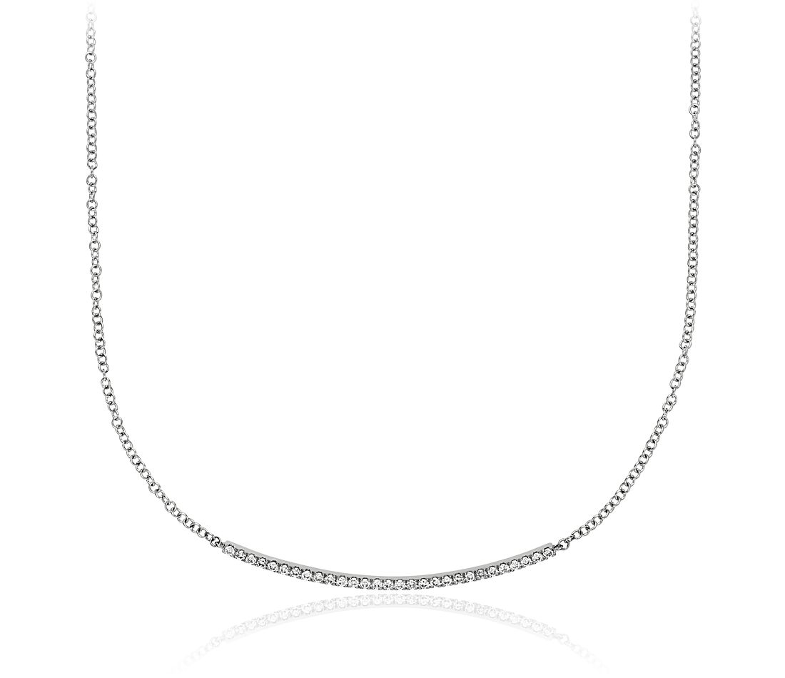 Collier barre diamants en or blanc 14 carats (1/4 carat, poids total)