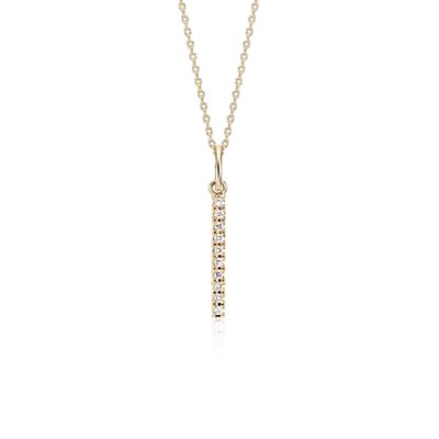Mini collier barre verticale en diamant en or jaune 14 carats