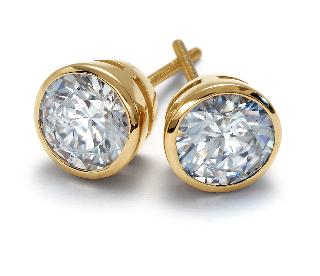 Bezel Cup Earrings in 18k Yellow Gold