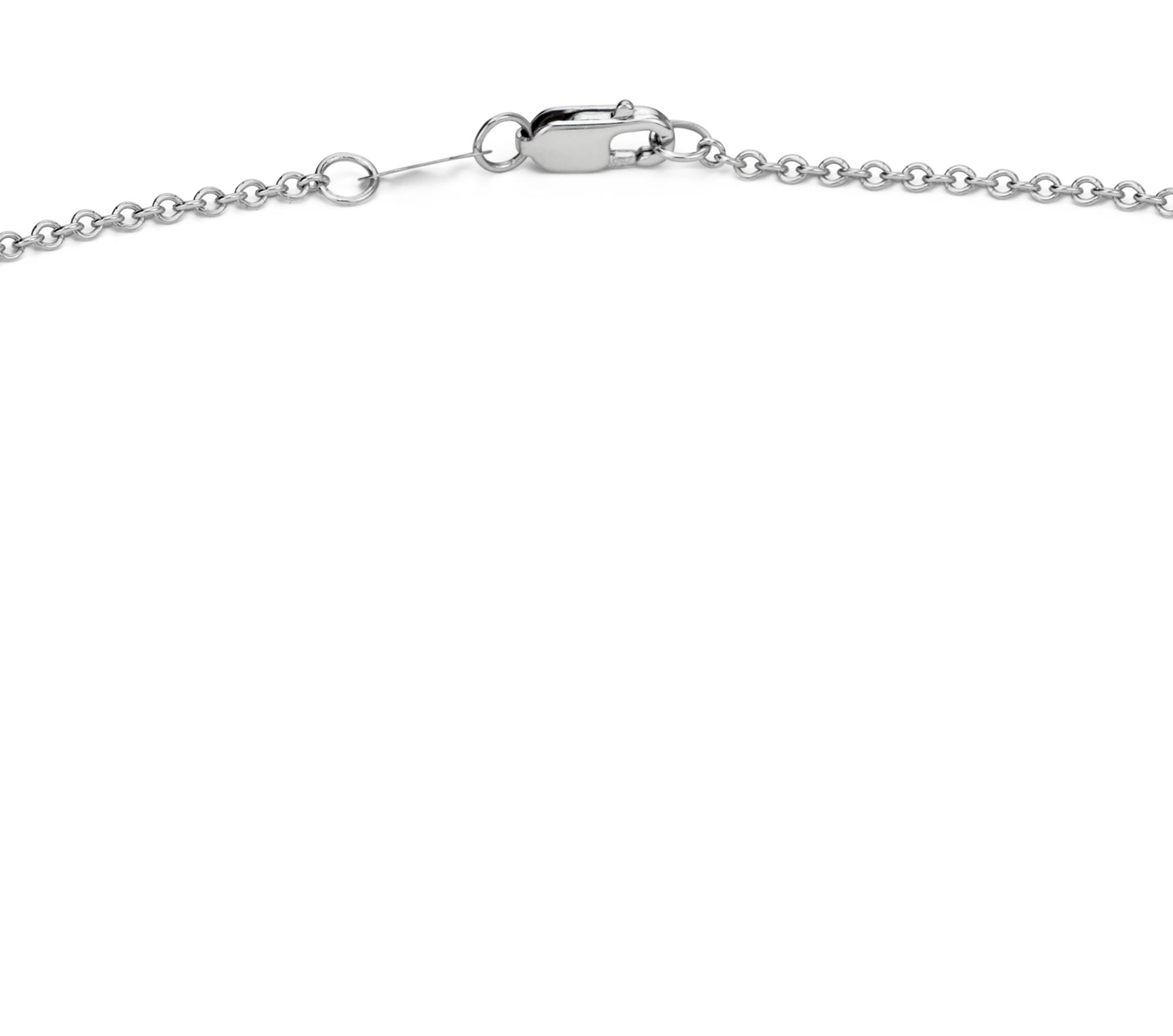 Collar tipo pechera con diamantes engarzados en bisel en oro blanco de 14k (1 qt. total)
