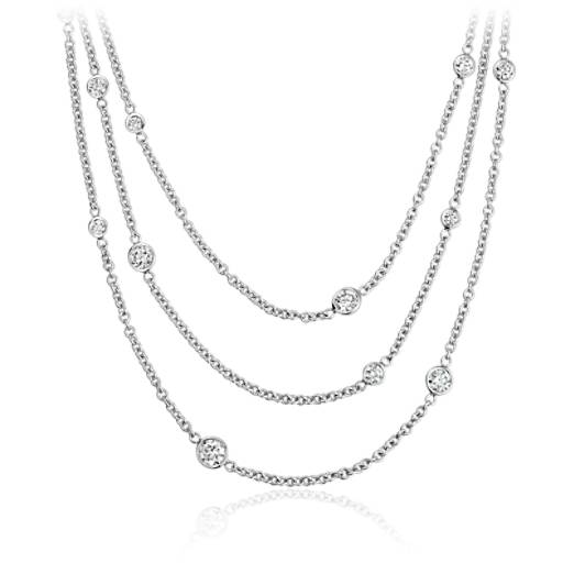 Diamond Bezel Bib Necklace in 14k White Gold