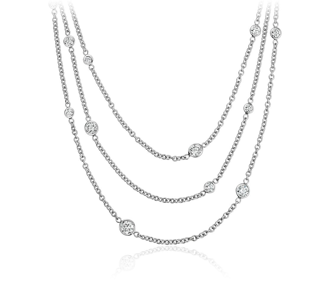 Diamond Bezel Bib Necklace in 14k White Gold (1 ct. tw.)