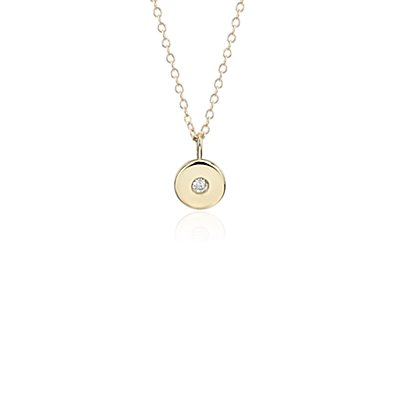 Mini Diamond Birthstone Charm Pendant in 14k Yellow Gold - April (2mm)