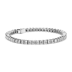 Blue Nile Signature Ideal Princess Cut Diamond Tennis Bracelet in Platinum (10 ct. tw.)