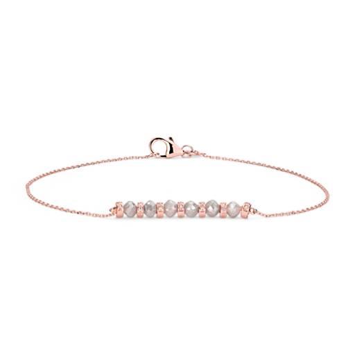 Rough Diamond Roundel Bracelet in 14k Rose Gold