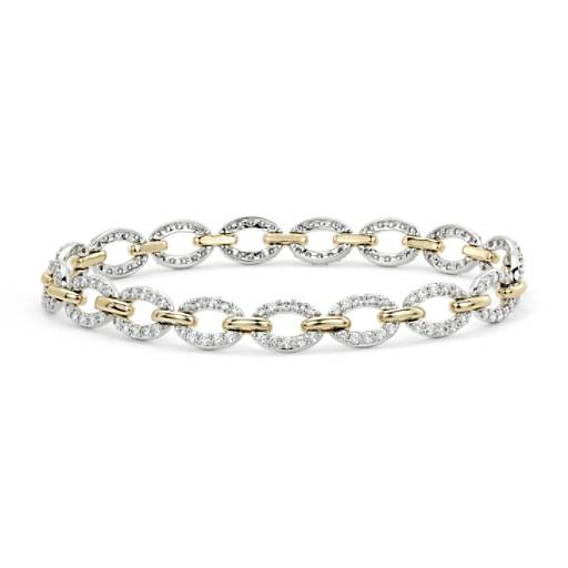 Diamond Oval Link Bracelet in 14k White and Yellow Gold