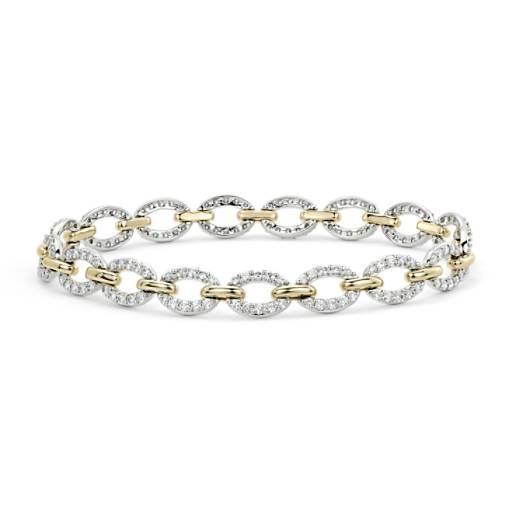 Brazalete de eslabones ovalados con diamantes en oro blanco y amarillo de 14k (2 2/5 qt. total)