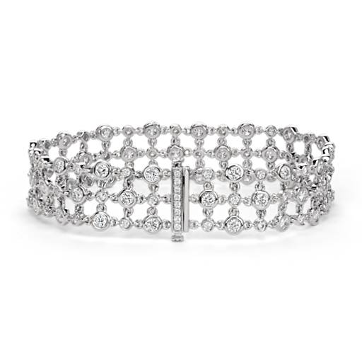 Blue Nile Studio Diamond Floral Triple Line Bracelet in 18k White Gold
