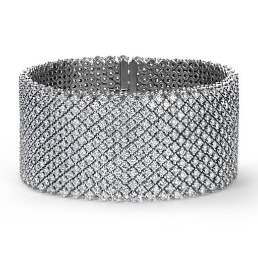 Wide Diamond Bracelet in 18k White Gold (27.14 ct. tw.)