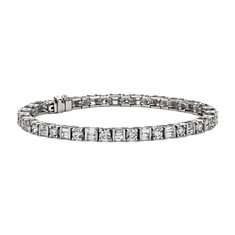 Round and Baguette Diamond Bracelet in Platinum (6.56 ct. tw.)
