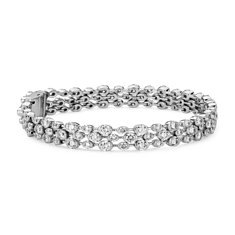 Trio Bracelet diamants sertis clos in Or blanc 18 ct (8.82 carats, poids total)