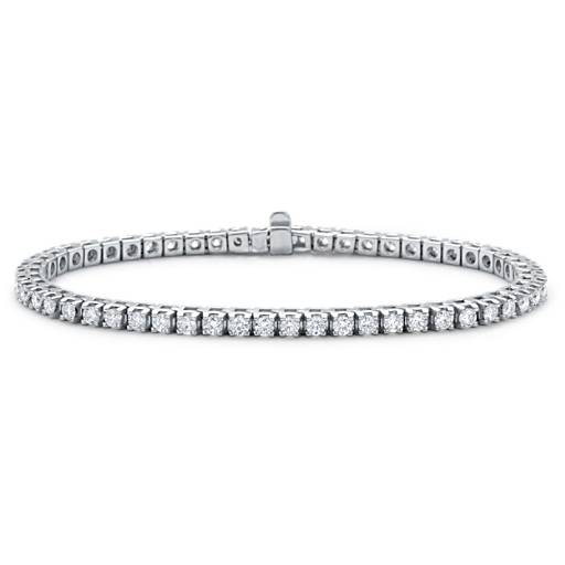 Bracelet diamants d'éternité en or blanc 18 carats (3 carats, poids total)
