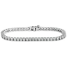 Bracelet diamants d'éternité en Or blanc 18 ct (4 carats, poids total)