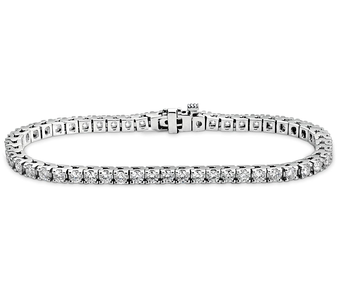 Bracelet diamants d'éternité en or blanc 18 carats (4 carats, poids total)