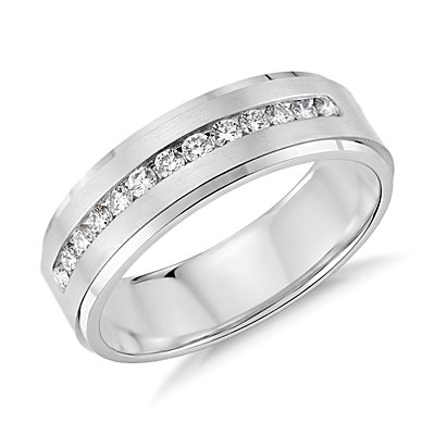 Diamond Channel-Set Wedding Ring in Platinum (6mm)