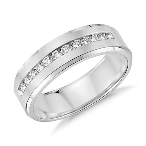 Diamond Channel-Set Wedding Ring in 14K White Gold (6mm)