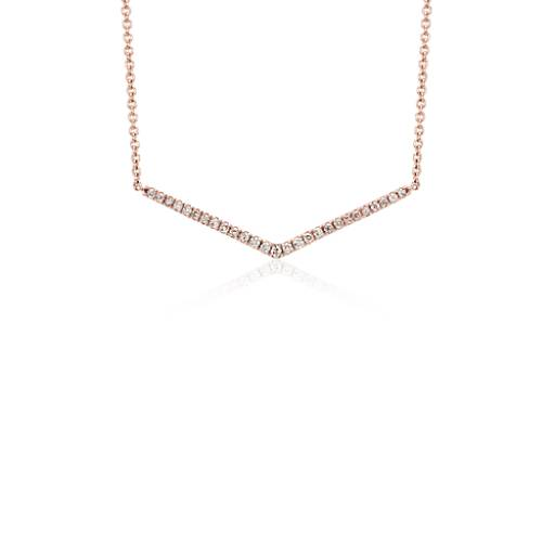 Mini Chevron Diamond Necklace in 14k Rose Gold