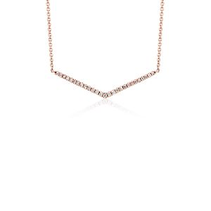 Petit collier en diamants chevron en or rose 14 carats