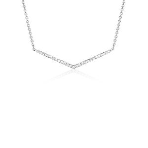 NEW Mini Chevron Diamond Necklace in 14k White Gold