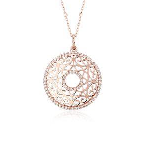 Colgante con círculo de diamantes tallados con láser en oro rosado de 14k (2/5 qt. total)