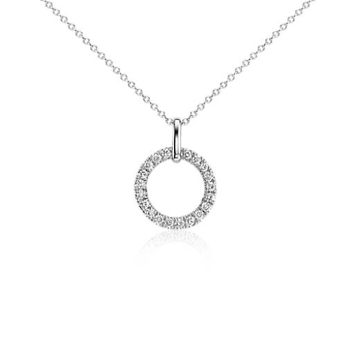 Circle Diamond Pendant in 14k White Gold