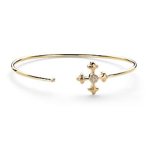 Frances Gadbois Cross Cuff with Diamond Detail in 14k Yellow Gold