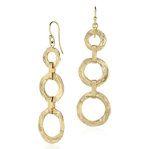 Tiered Dangle Earrings in Satin 14k Yellow Gold