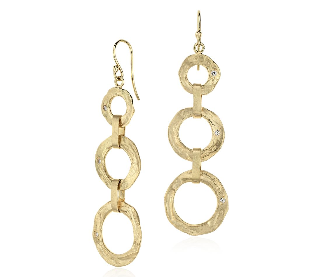 Denise James Tiered Dangle Earrings in Satin 14k Yellow Gold