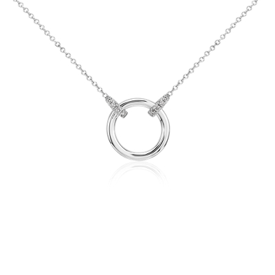 bail circle necklace in 14k white gold