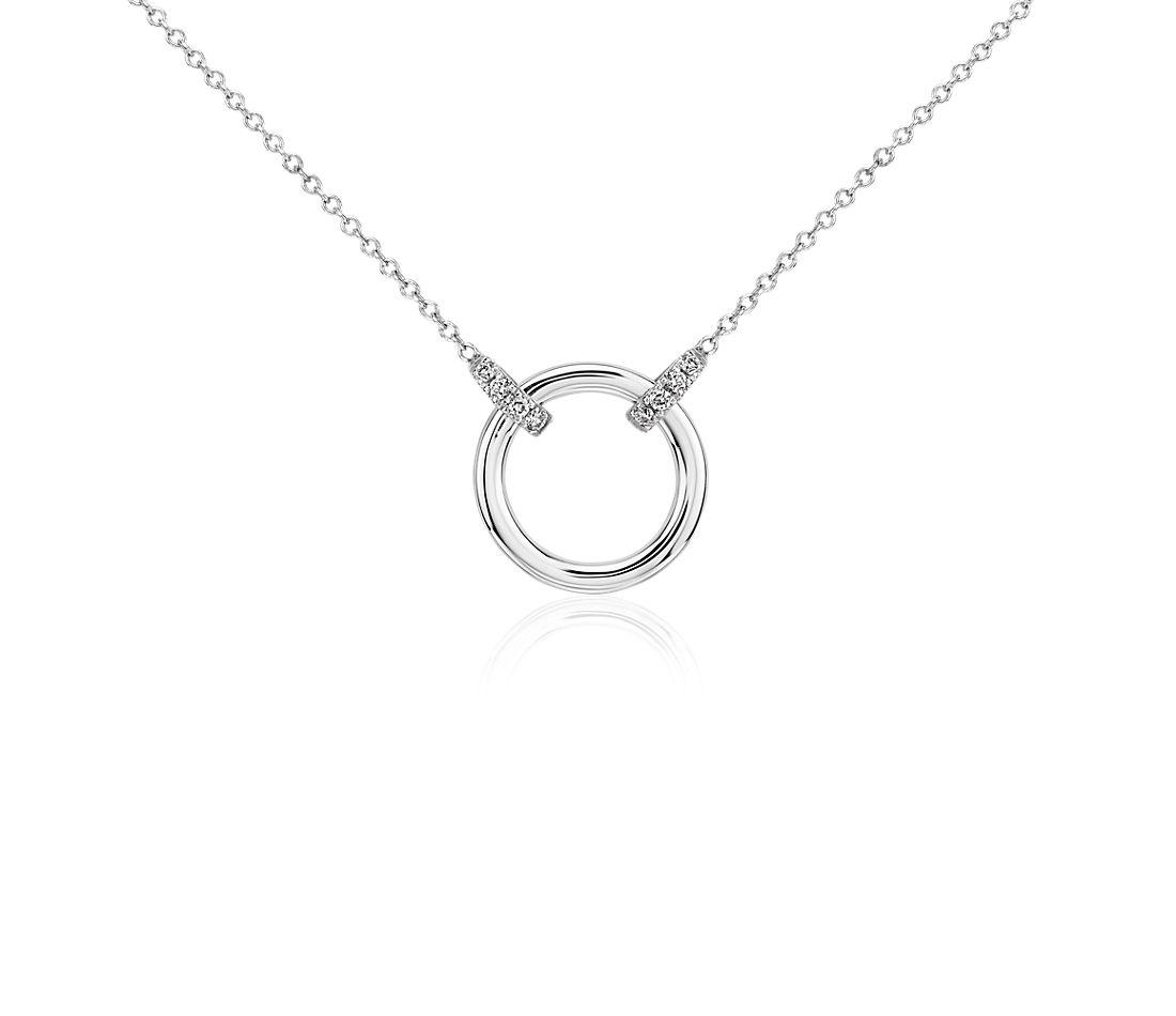 Collar circular de diamantes con asa doble en oro blanco de 14k