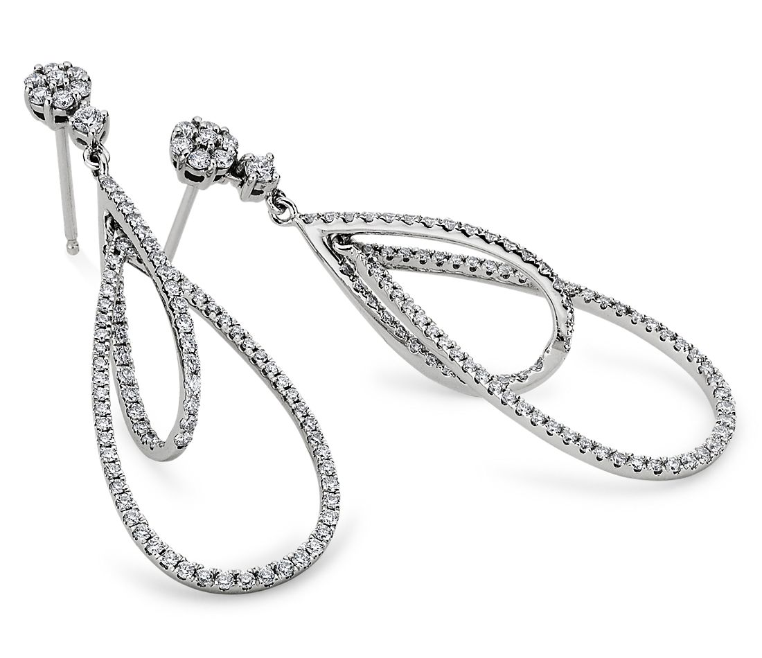 Duet Teardrop Diamond Earrings in 18k White Gold (1 ct. tw.)