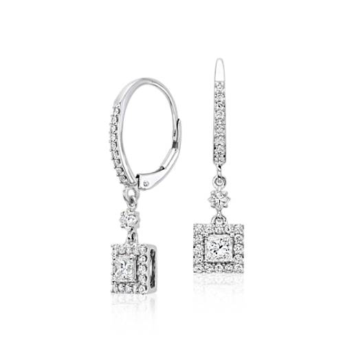 Princess Diamond Drop Earrings 14k White Gold (1 ct. tw.)