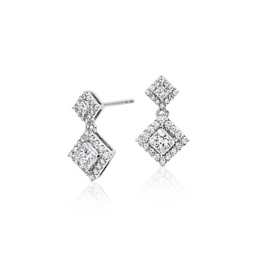 Diamond Princess Halo Drop Earrings 14k White Gold (3/4 ct. tw.)