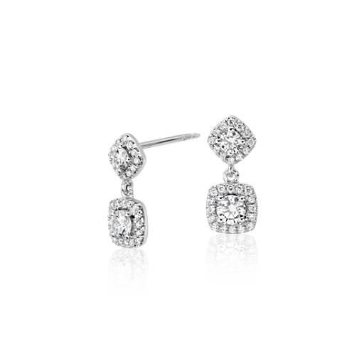 Pendants d'oreilles diamant en or blanc 14carats (5/8carat, poids total)