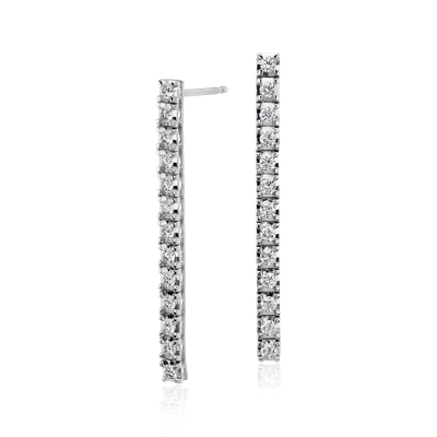 Diamond Line Drop Earrings in 18k White Gold (4/5 ct. tw