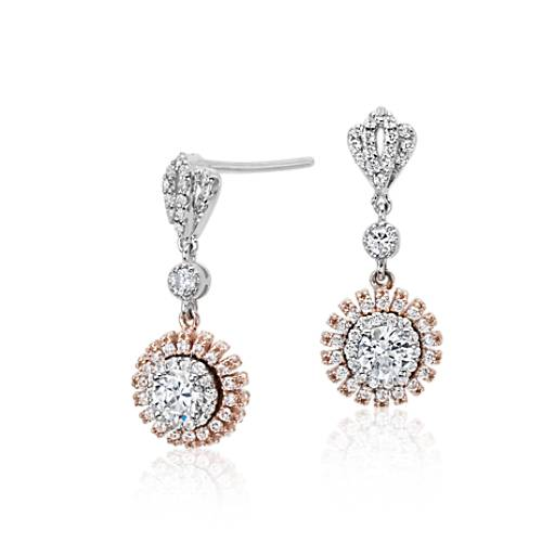 Diamond Tiara Drop Earrings in 18k White and Rose Gold (1 1/4 ct. tw.)