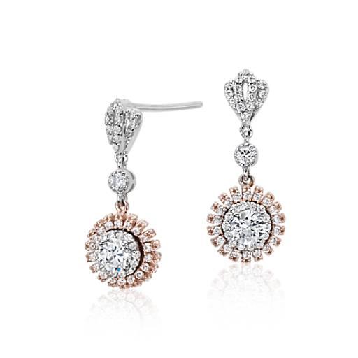 Diamond Tiara Drop Earrings in 18k White and Rose Gold