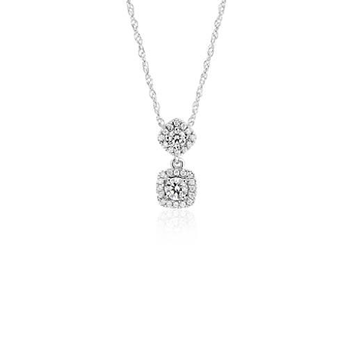 Diamond Drop Pendant in 14k White Gold (1/3 ct. tw.)