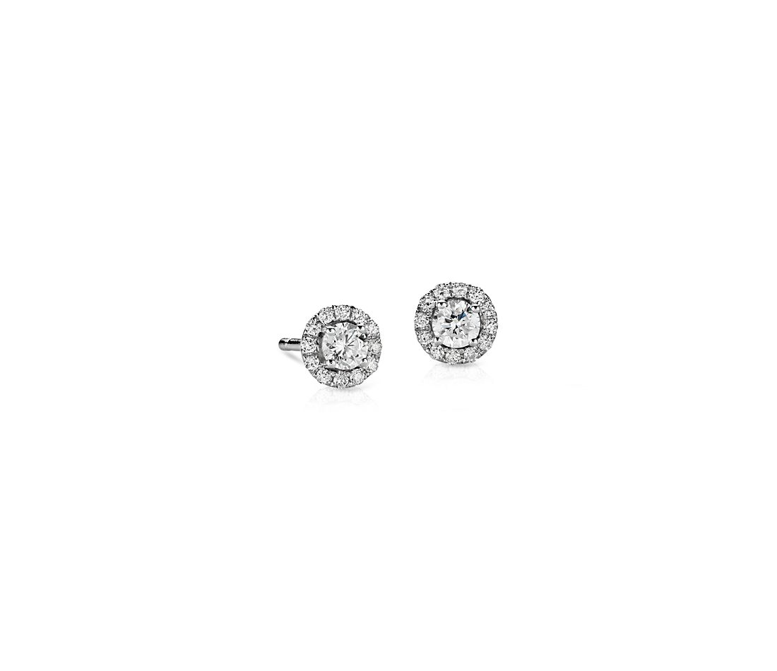 Mini Diamond Halo Stud Earrings in 14k White Gold