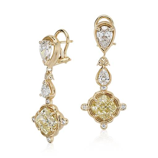 Modified Square Brilliant Light Yellow Diamond Drop Earrings in 18k Yellow Gold (6.04 ct. tw)