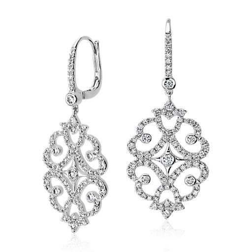 Diamond Scroll Drop Earring in 18k White Gold (3 ct. tw.)