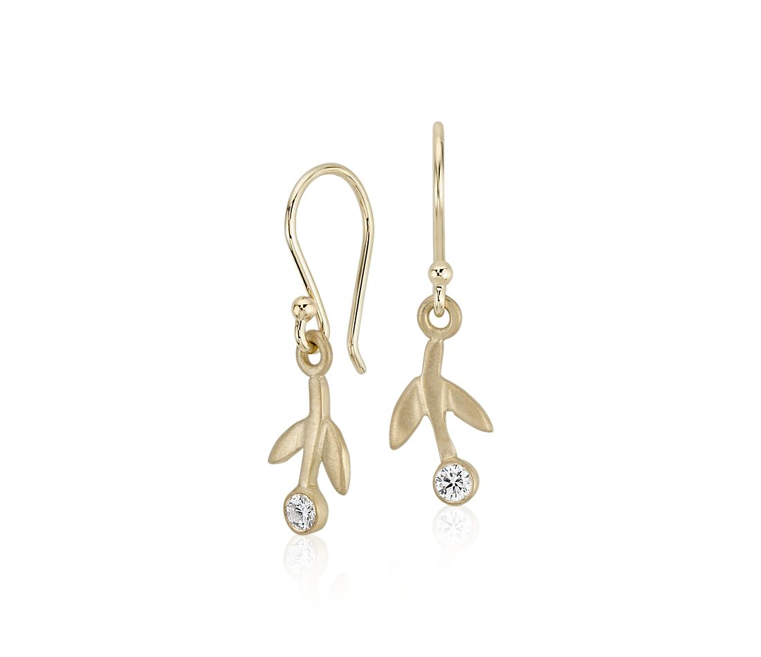 Diamond Branch Earrings in 18k Yellow Gold