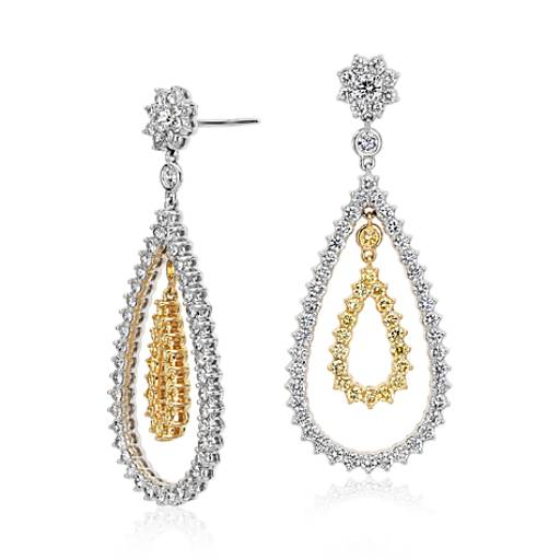 Pear Shape Diamond Dangle Earrings in 18k White and Yellow Gold